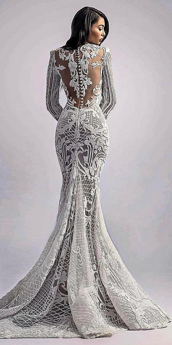 sovannary en couture wedding dresses lace tatto back long sleeves