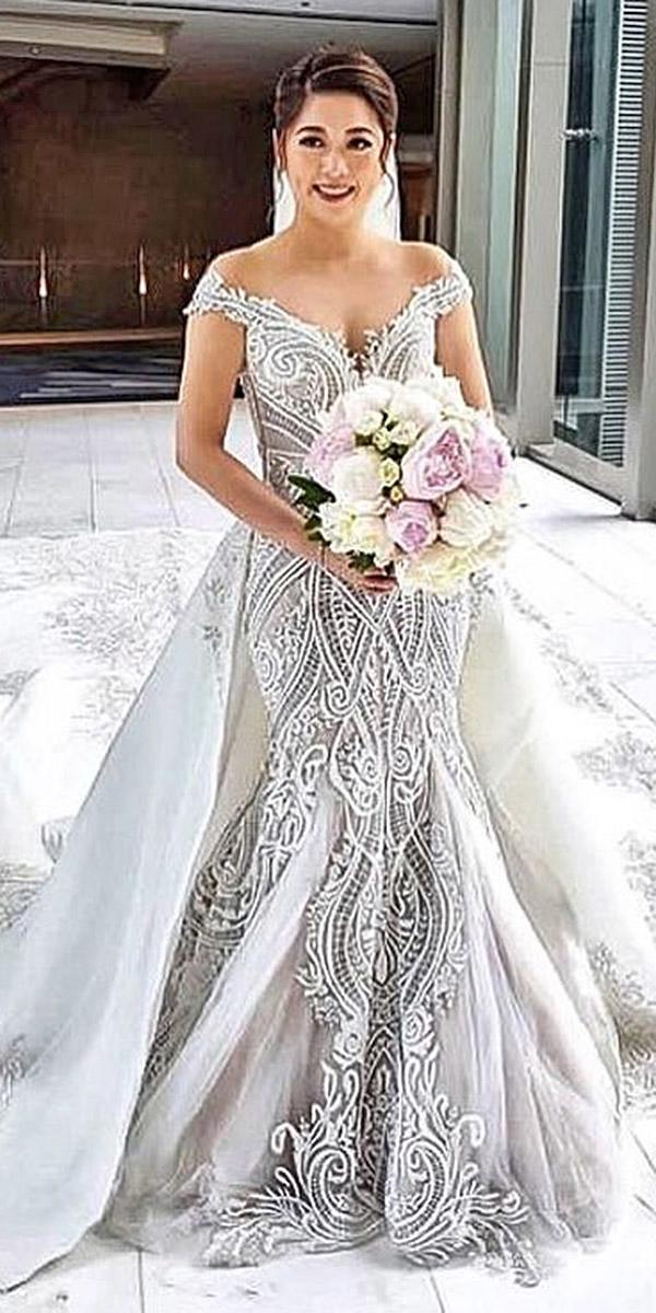 lace wedding dresses off the shoulder over skirt embellishment by sovannary en couture