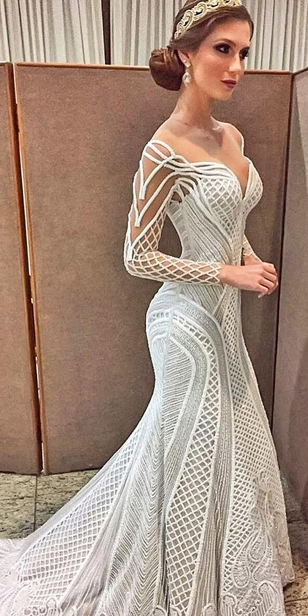 sovannary en couture wedding dresses with long leeves tatto sweetheart