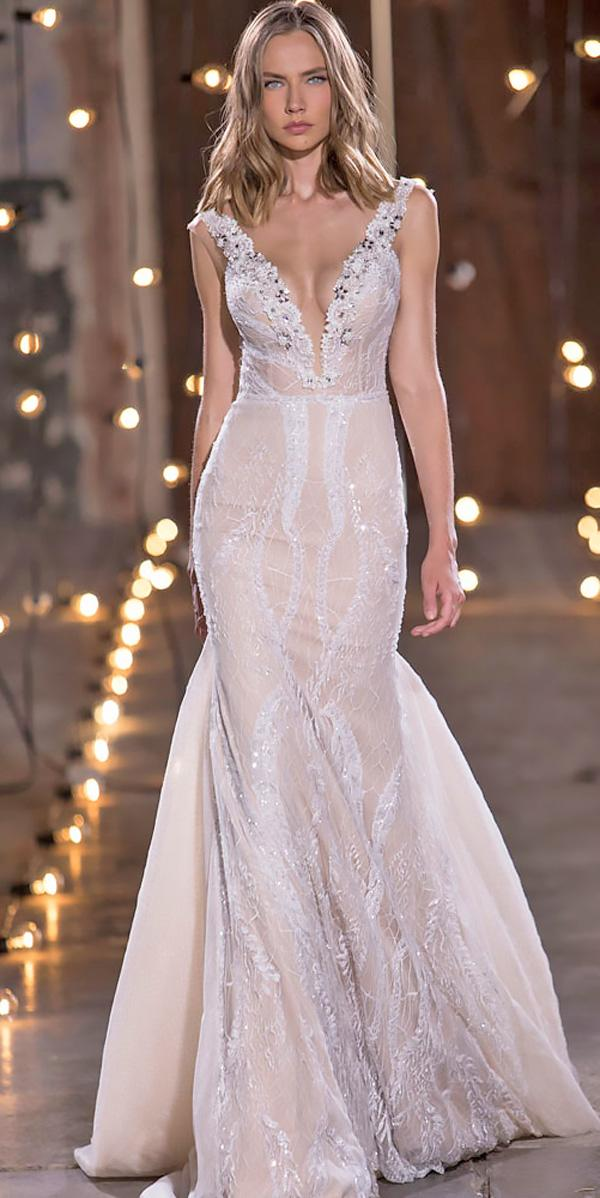 straight deep v neck lace wedding dresses nurit hen