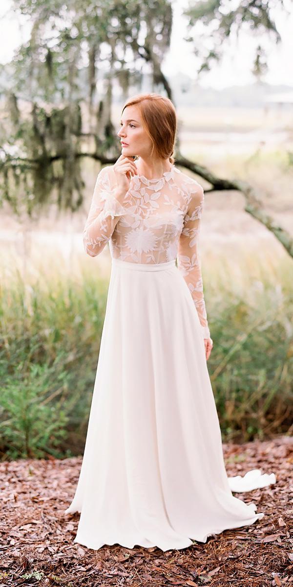 straight high neckline with long sleeves vintage wedding dresses rue de seine
