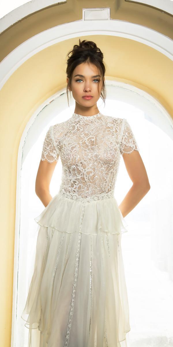 straight short sleeve vered vaknin wedding dresses