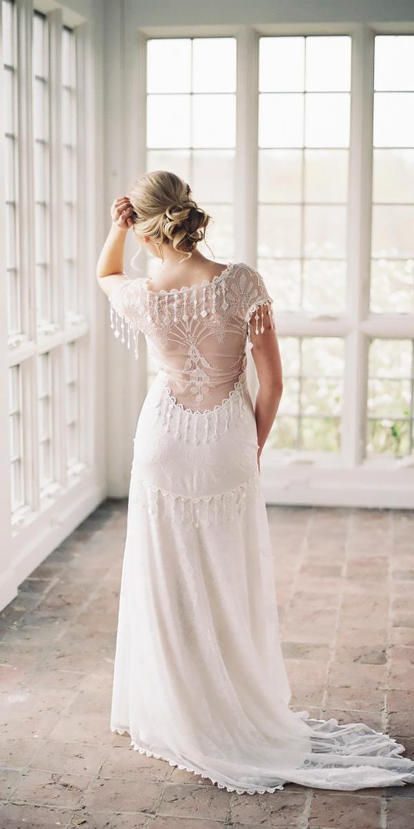 straight lace with short sleeves vintage wedding dresses claire pettibone