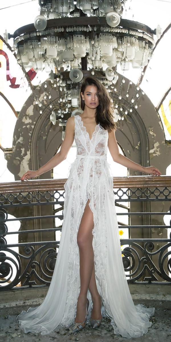 straight v neck lace with high slit wedding dresses vered vaknin-