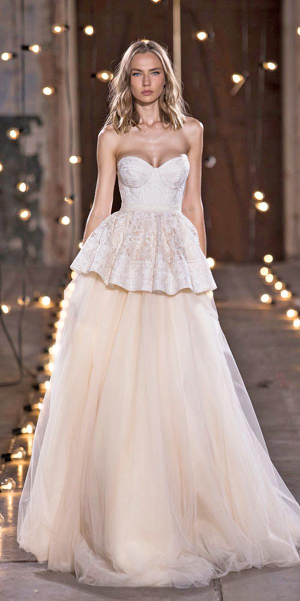 strapless sweetheart blush with layered skirt wedding dresses nurit hen