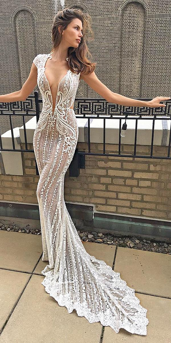 trumpet wedding dresses cap sleeves deep v neckline lace embellishment with train berta