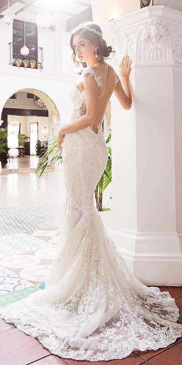 trumpet wedding dresses illusion back floral embellishment duke photography