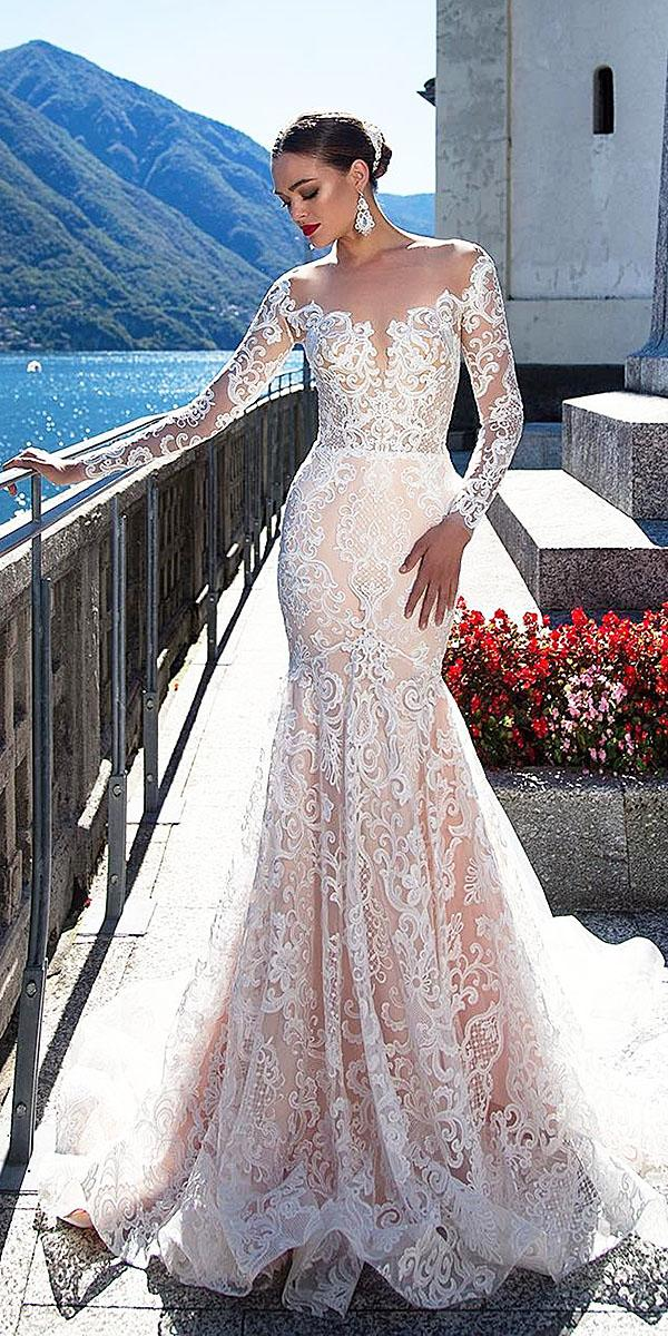 trumpet wedding dresses illusion long sleeves lace blush tatto milla nova