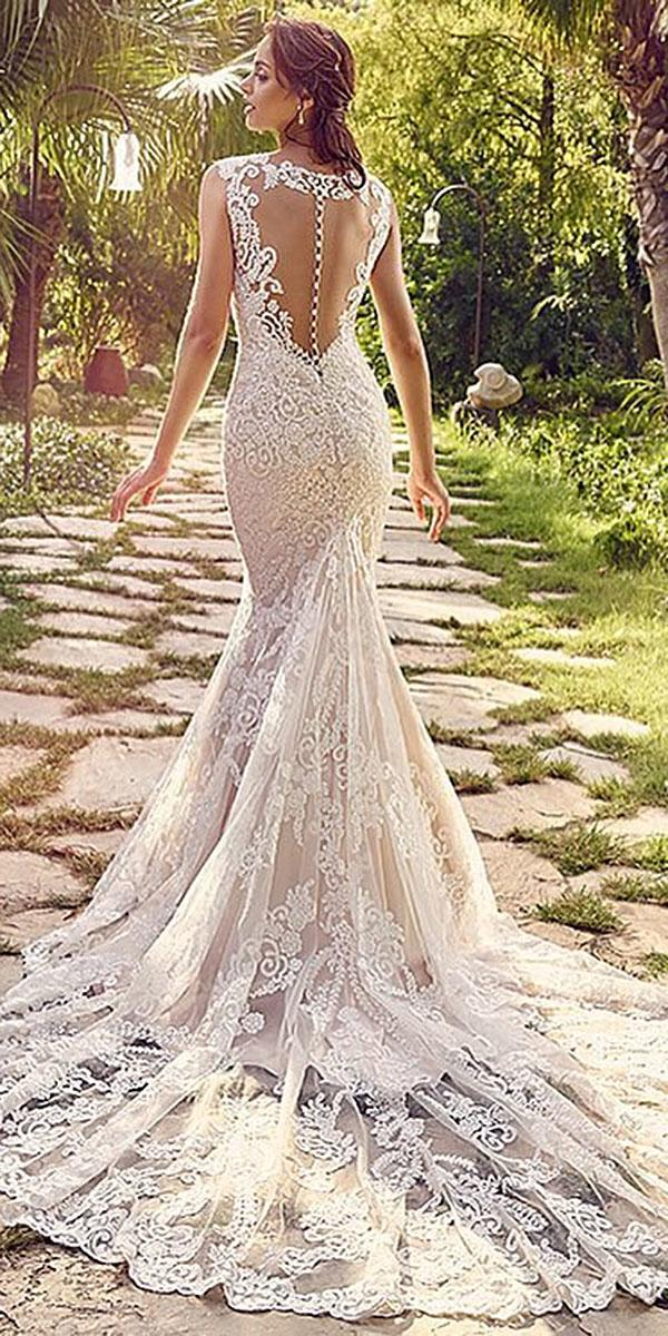 trumpet wedding dresses lace back with train blossoms