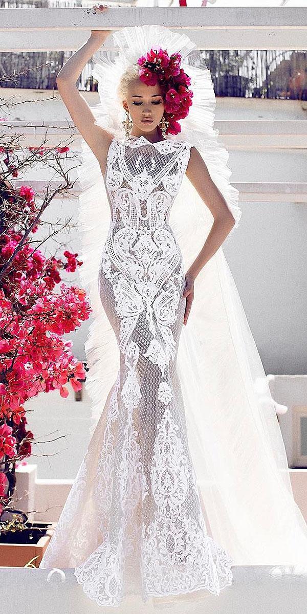 trumpet wedding dresses lace high neck floral embellishment endrit mertiri