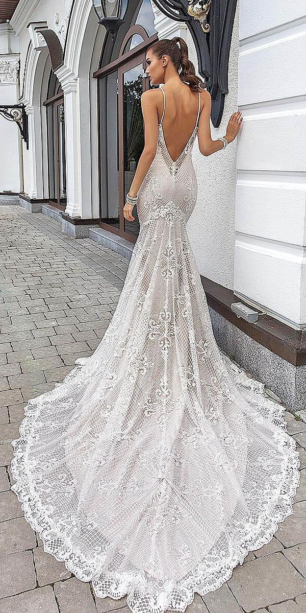trumpet wedding dresses low back spaghetti strap lace train crystal design