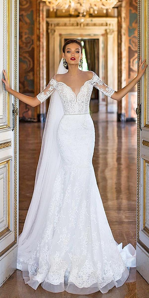 trumpet wedding dresses off the shoulder deep v neckline lace top floral appliques milla nova