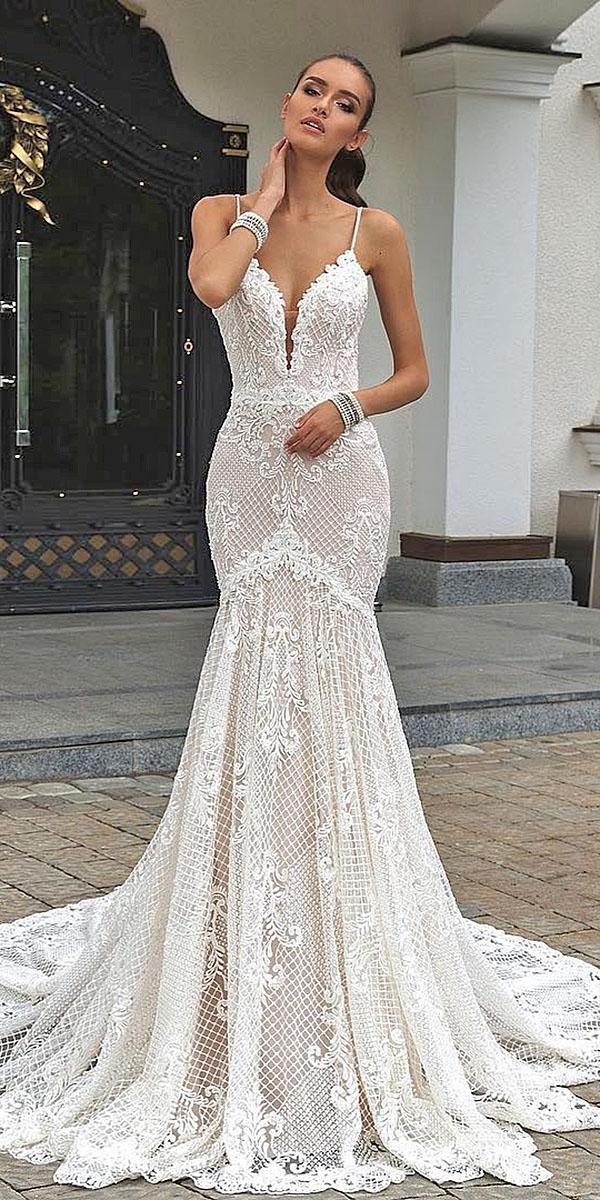trumpet wedding dresses spaghetti straps deep v neckline floral embellishment crystal design