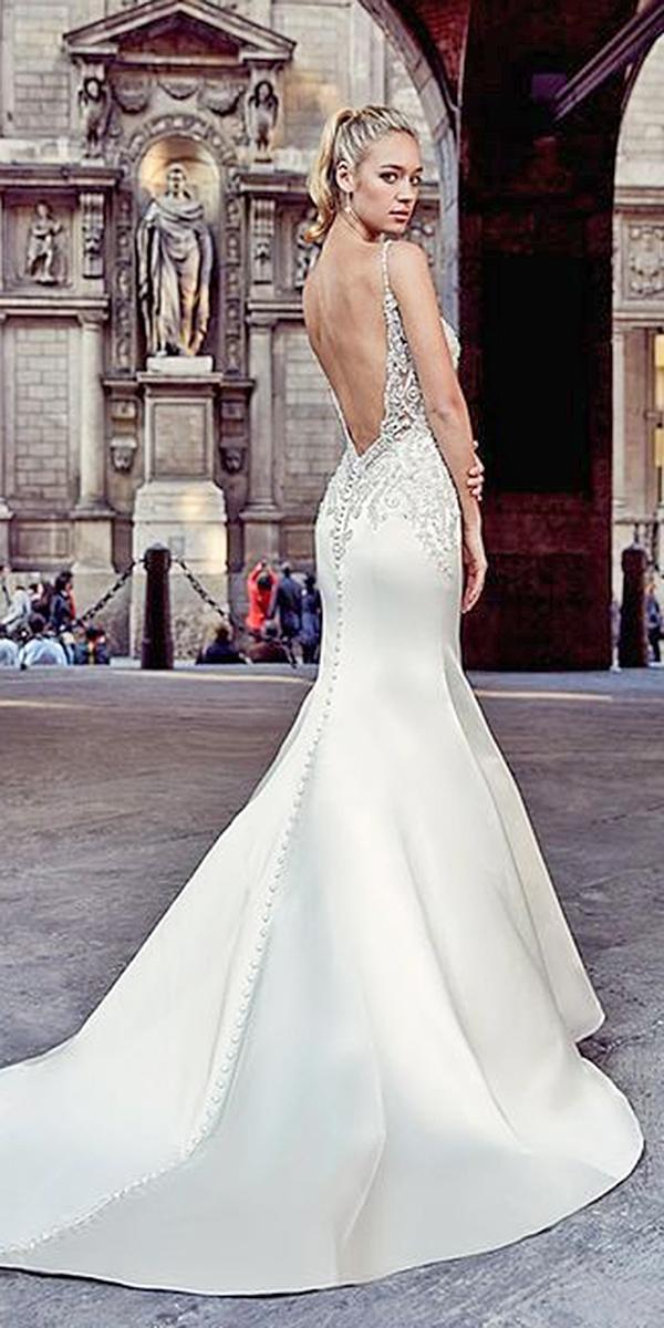trumpet wedding dresses spaghetti straps sexy lace embroidered eddyk bridal