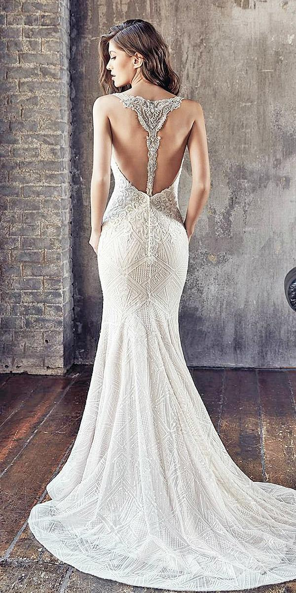 trumpet wedding dresses tatto back beaded lace with train sexy eddyk bridal