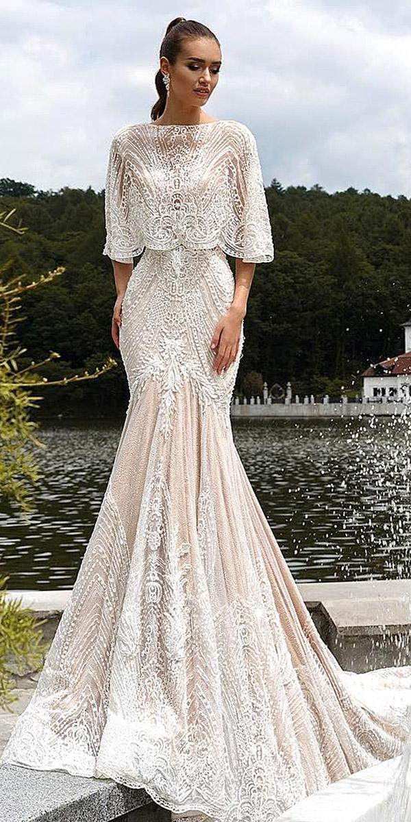 trumpet wedding dresses vintage lace floral appliques capes ricca sposa