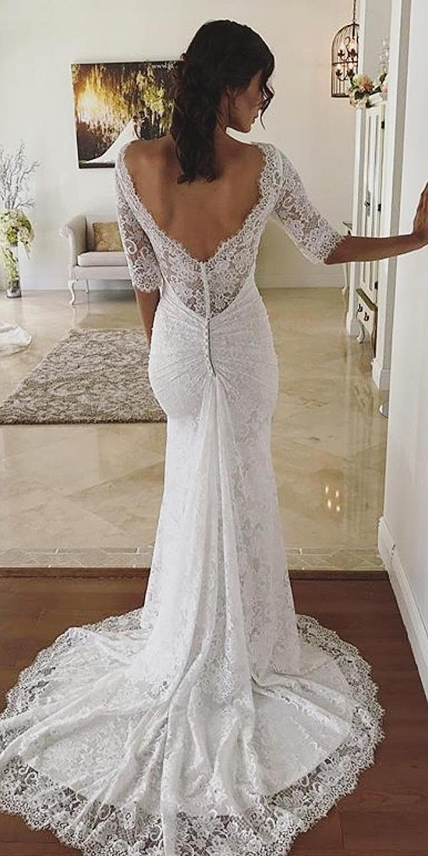 trumpet wedding dresses with three quate low back maggie sottero