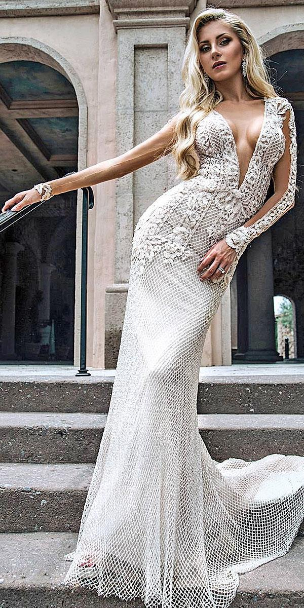 trumpet wedding dresses with long sleeves deep v neckline floral appliques galia lahav