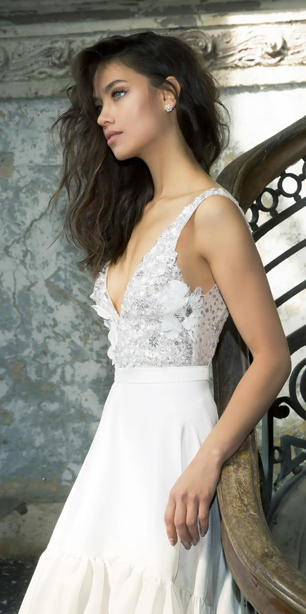 v neckline beaded bodice vered vaknin wedding dresses