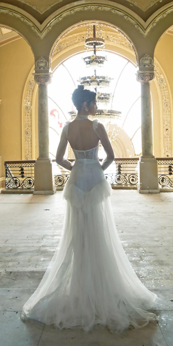 vered vaknin wedding dresses open back high neckline lace with layered skirt