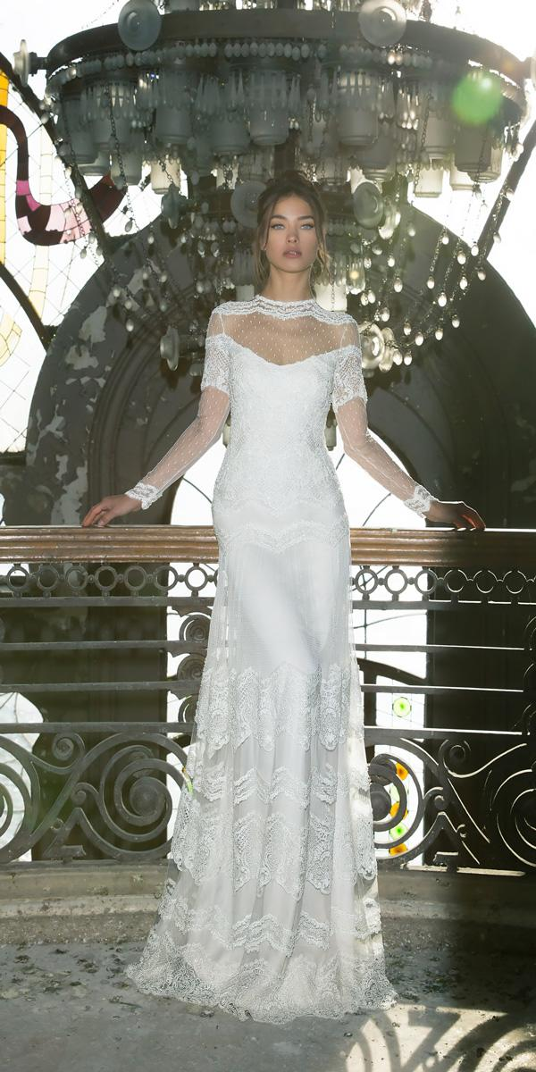 vered vaknin wedding dresses straight illusion lace neckline with long sleeves
