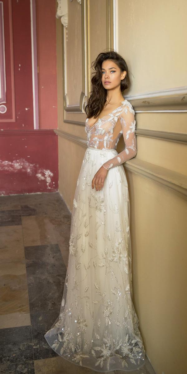vered vaknin wedding dresses straight v neck long sleeve