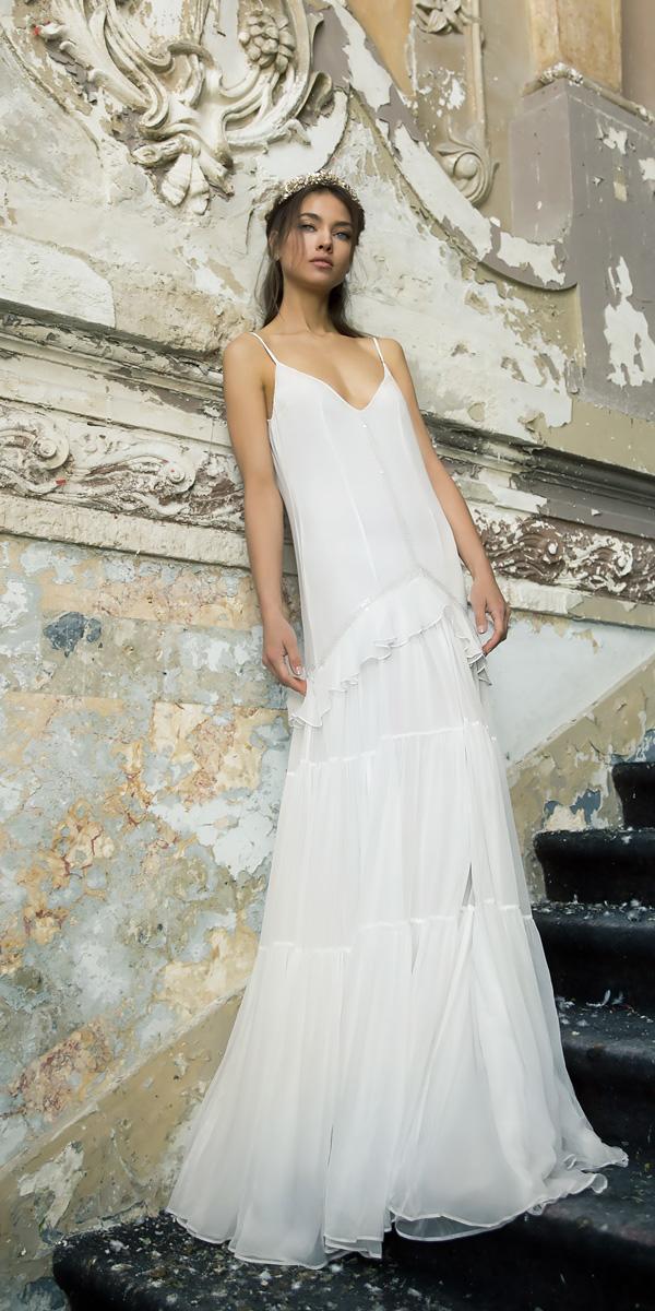 vered vaknin wedding v neck spaghetti straps with layered skirt