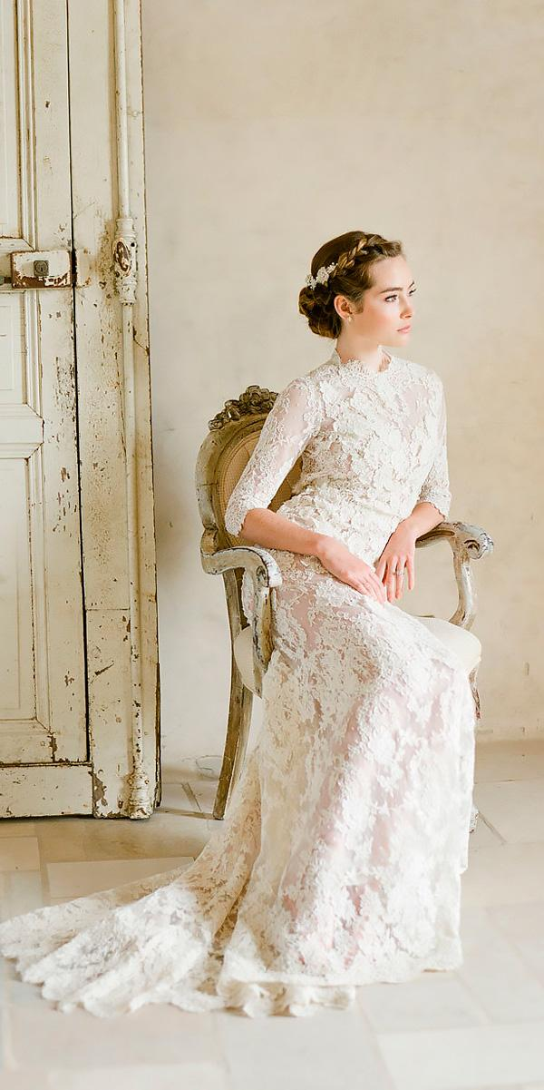 vintage wedding dresses 1920's straight lace high neckline with long sleeves kt merry