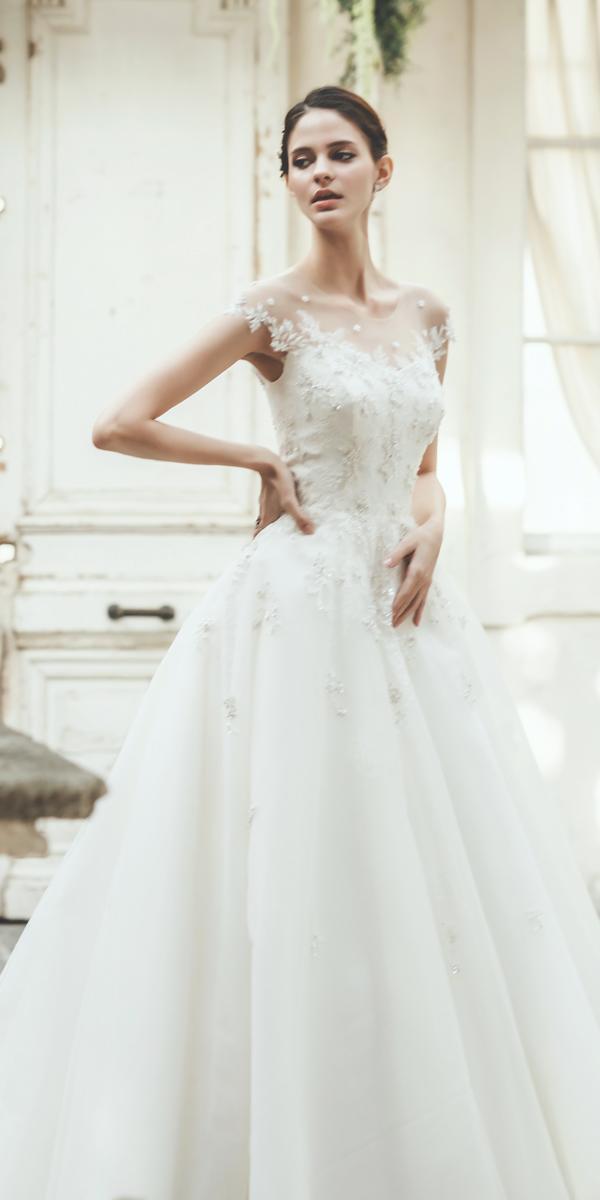 vintage wedding dresses a line illusion neckline cap sleeved prime sposa