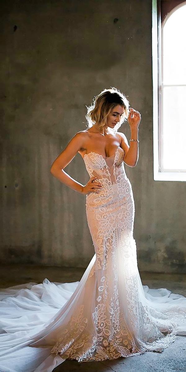 vintage wedding dresses mermaid lace strapless sweetheart neck pallas couture