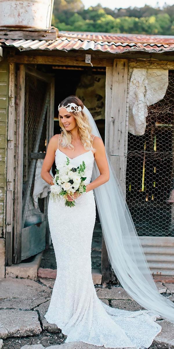 vintage wedding dresses sheath sweetheart spaghetti strap with veil karen willis holmes