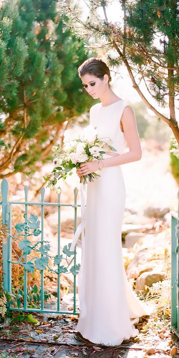vintage wedding dresses simple sheath bateau neckline rebecca yale