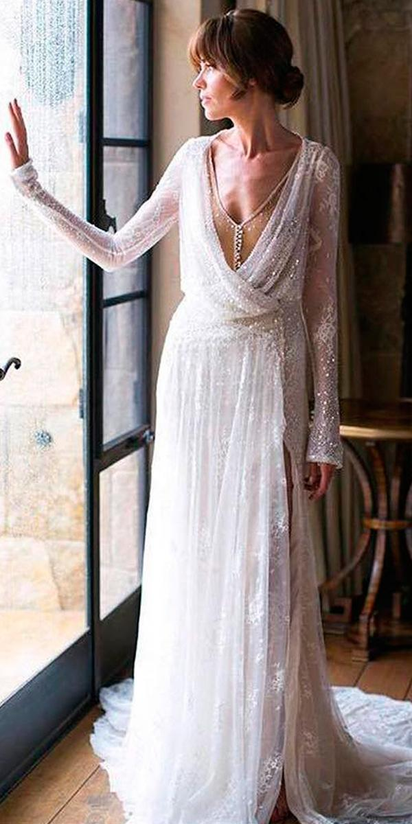 vintage wedding dresses straight v neck with long sleeves inbal dror