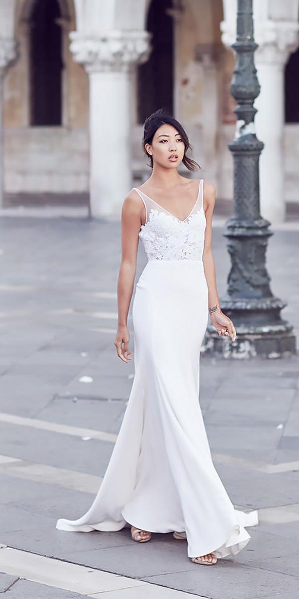 vintage wedding dresses straight v neckline spaghetti strap silvana tedesco
