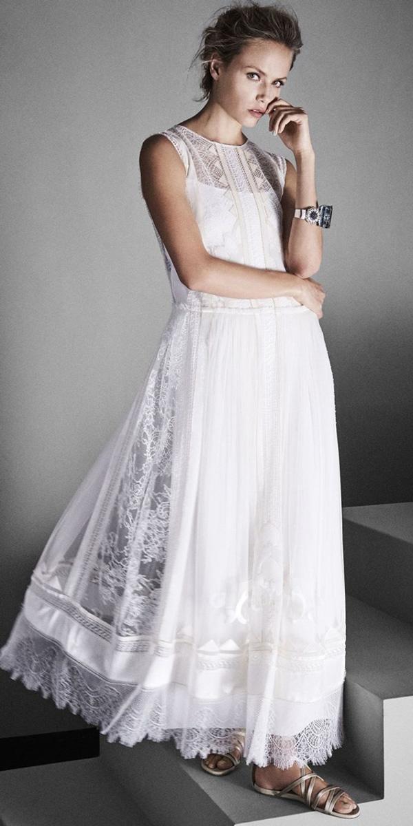 vintage wedding dresses tea length lace bateau neckline alberta ferretti