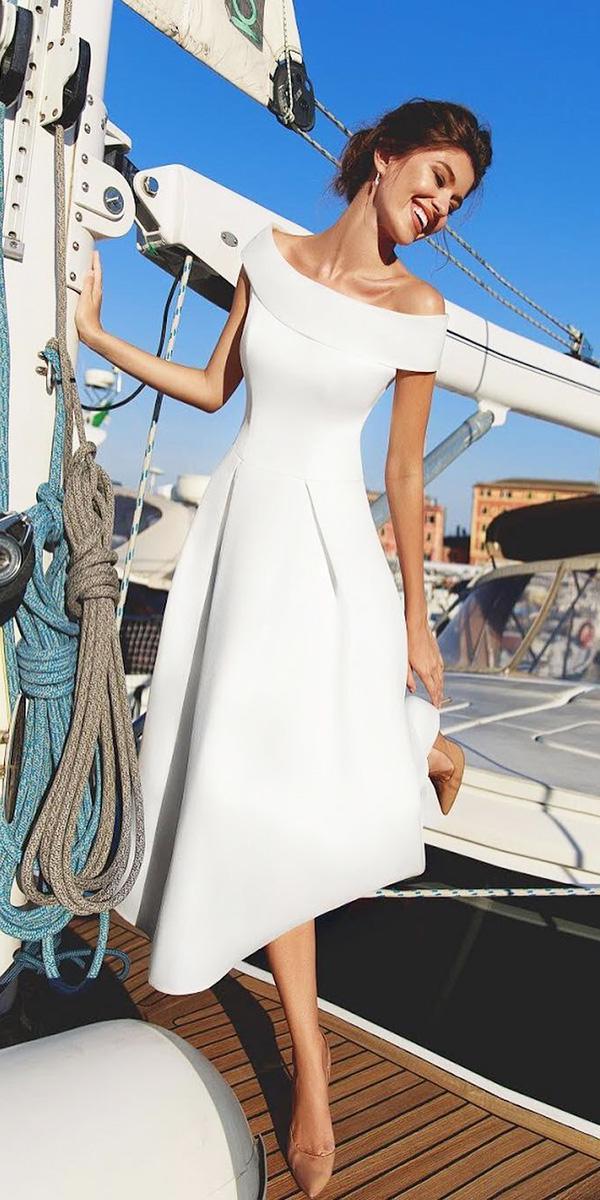 wedding dresses 2018 portrait neckline simple below low viero bridal