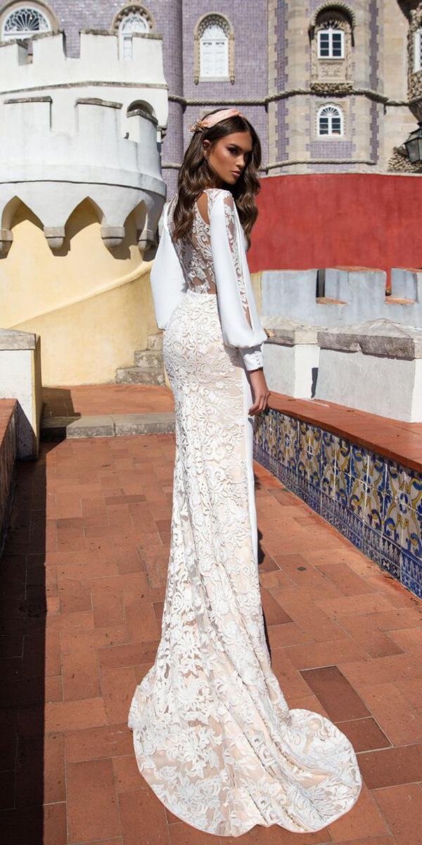 wedding dresses 2018 sheath with long sleeves lace tatoo back embellishment ariamo