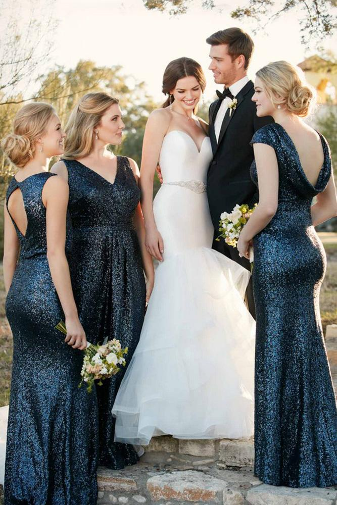 sequin bridesmaid sheath v neckline open back navy sorella vita