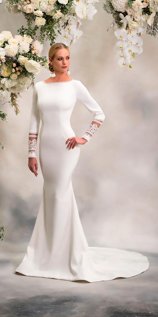 fit and flare simple with long sleeve wedding dresses 2018 by anna georgina style esther