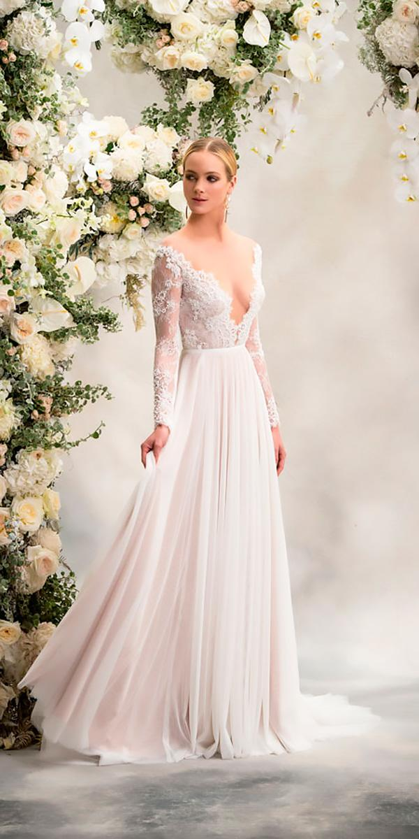 anna georgina wedding dresses v neckline lace with long sleeves and gathered skirt style reeva