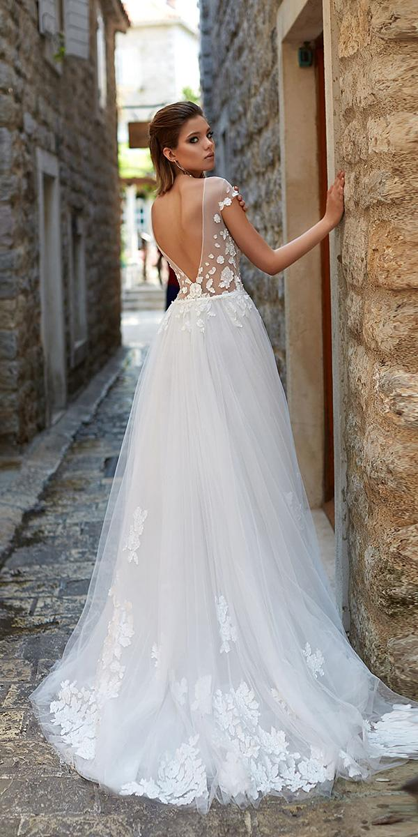 armonia wedding dresses a line v back with cap sleeeves illusion floral romantic