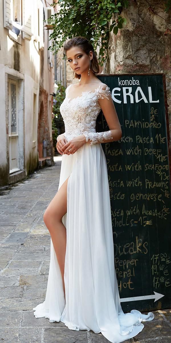 armonia wedding dresses a line with long illusion sleeves lace floral slit