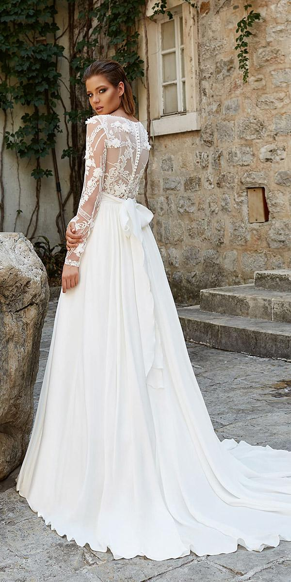 armonia wedding dresses a line with long sleeves lace back with bow