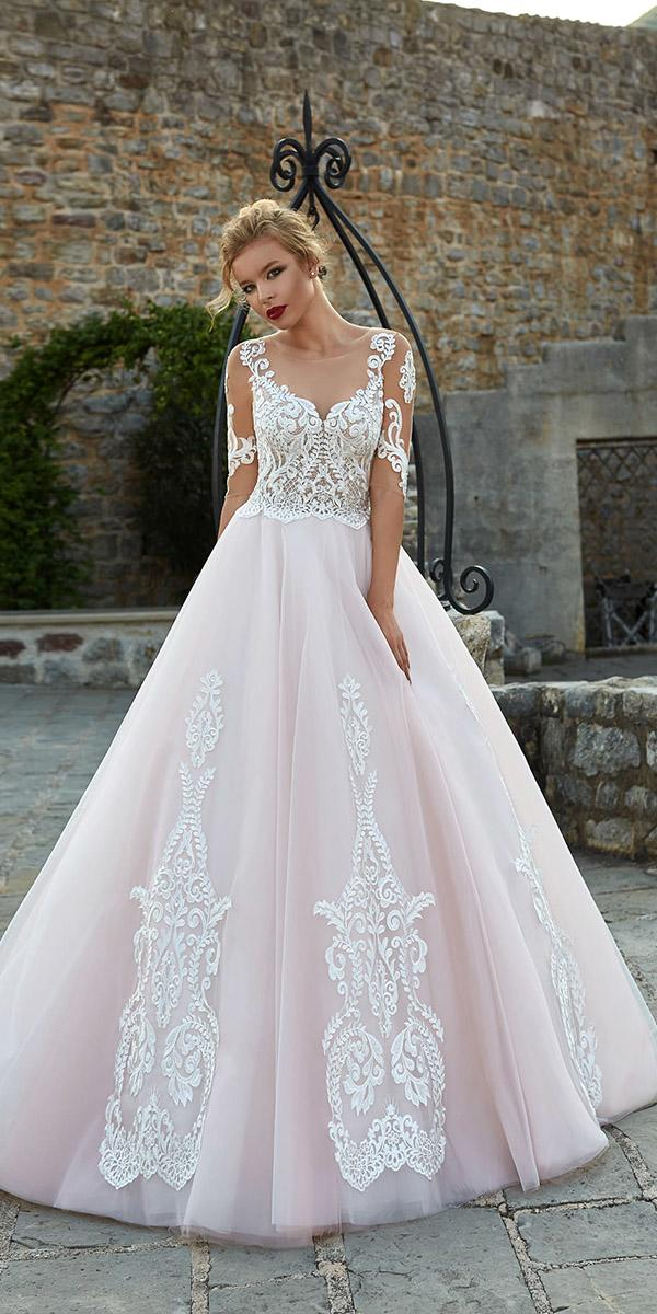 armonia wedding dresses a line with three quote sleeves lace blush