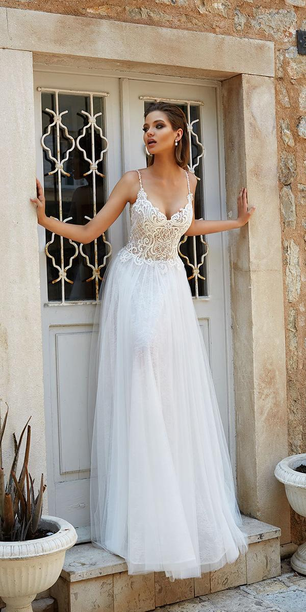 armonia wedding dresses beach a line with spaghetti straps lace top