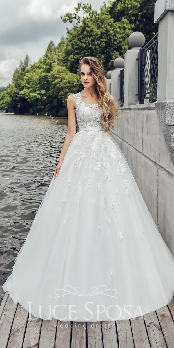 ball gown square neckline sleeveless with straps lace luce sposa wedding dresses 2018