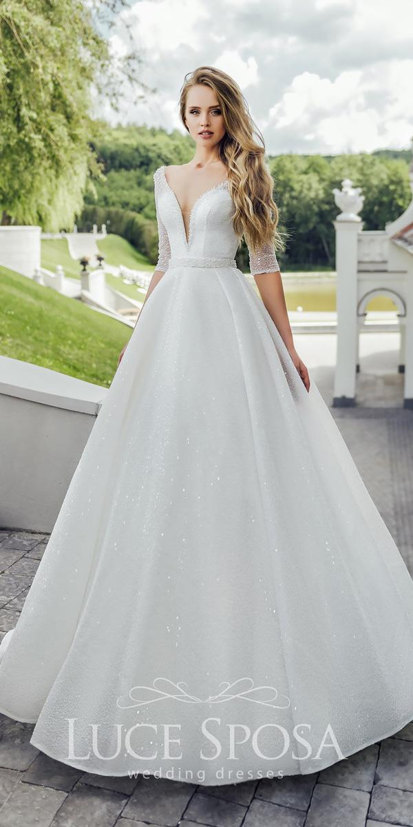 ball gown sweetheart with plunging v neck short sleeves luce sposa wedding dresses 2018