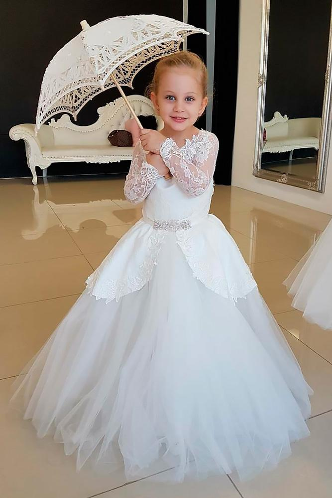 ball gown with sleeves lace flower girl dresses vintage rose by hannah aj