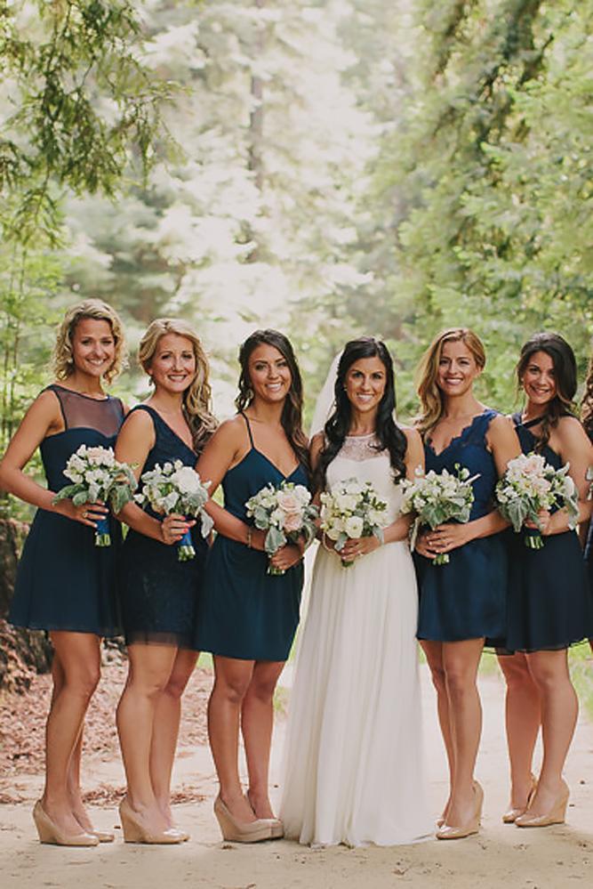 dark short v neckline sleeveless teal bridesmaid dresses jake and necia