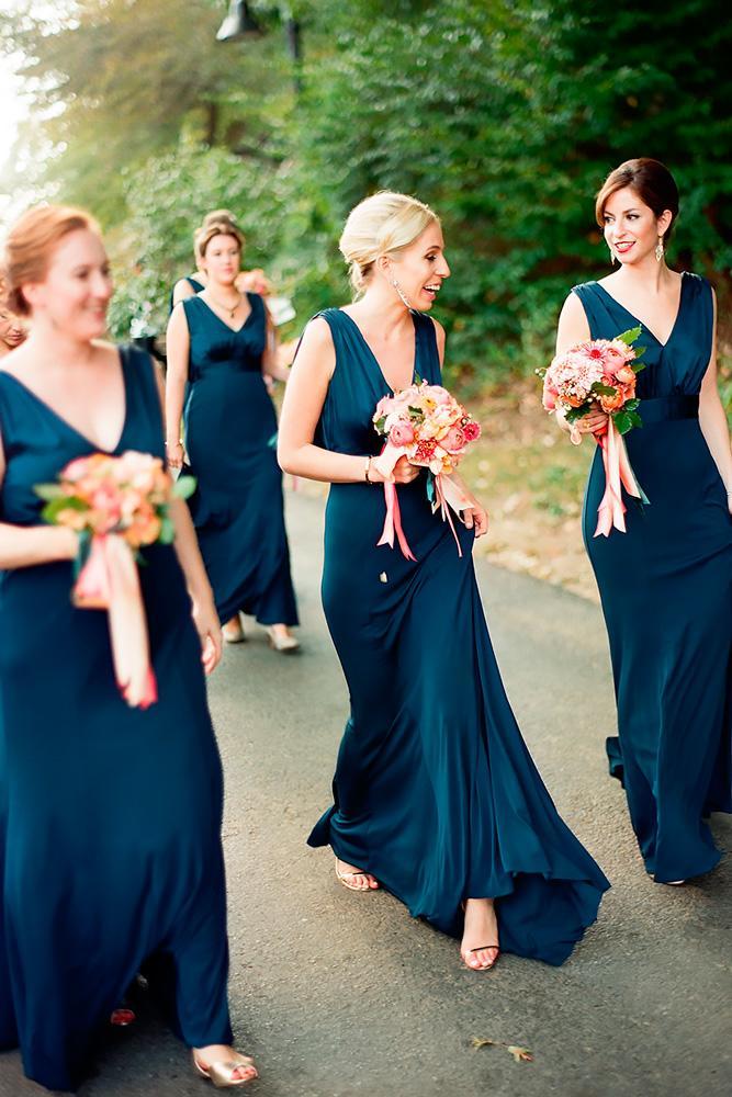 dark teal bridesmaid dresses long v neckline plum pretty sugar